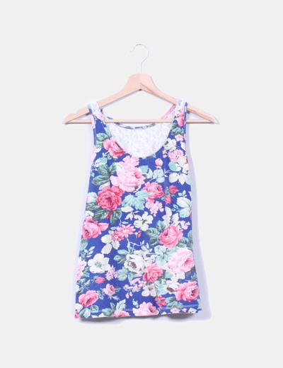 Camiseta floreada combinada sin mangas NoName