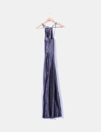 Maxi vestido gris satinado