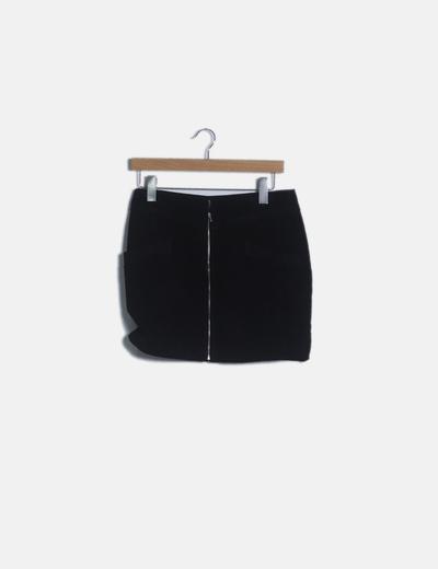 Falda negra mini piel