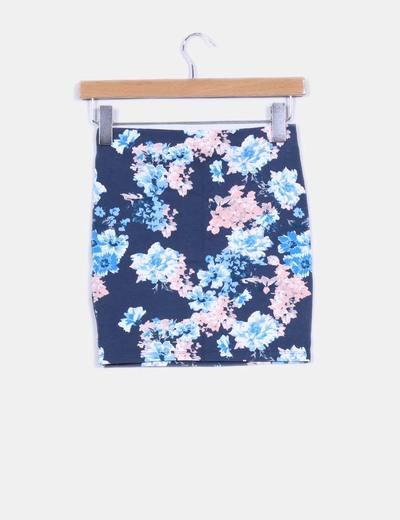 Mini falda azul floreada
