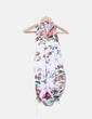 Vestido blanco estampado floral curello halter Stradivarius