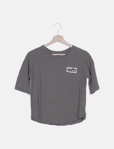 Camiseta khaki detalle strass