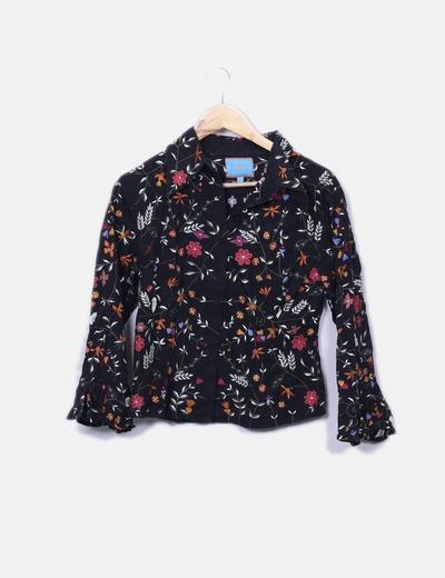 Camisa negra bordada Flamenco