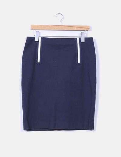 Falda midi azul marino Ralph Lauren