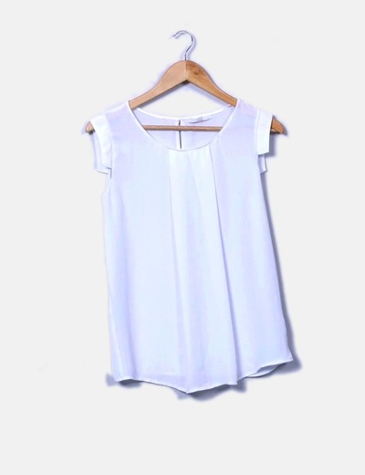 Blusa blanca plisada Love & Money