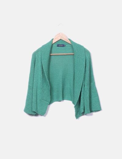 Chaqueta tricot verde con manga campana