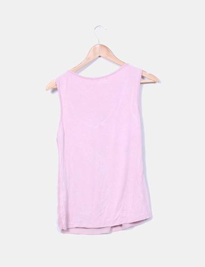 Top rosa combinado sin mangas