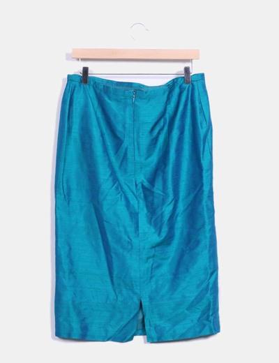 Falda midi verde irisada