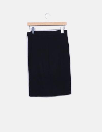 Falda midi negra canale