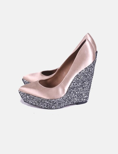 Zapatos satén dorado cuña glitter Kurt Geiger