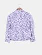 Camisa blanca print flores moradas Liz Claiborne