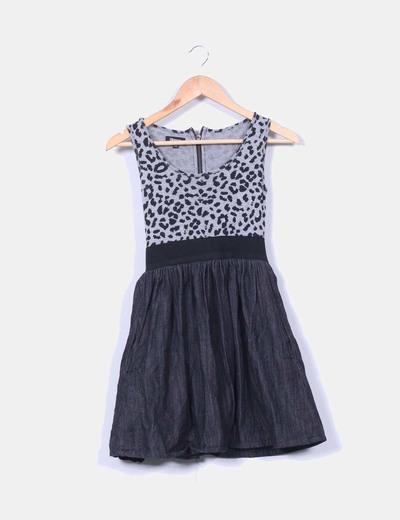 Vestido combinado print leopardo Suiteblanco