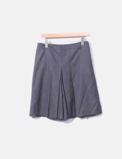 Falda midi tablas gris marengo