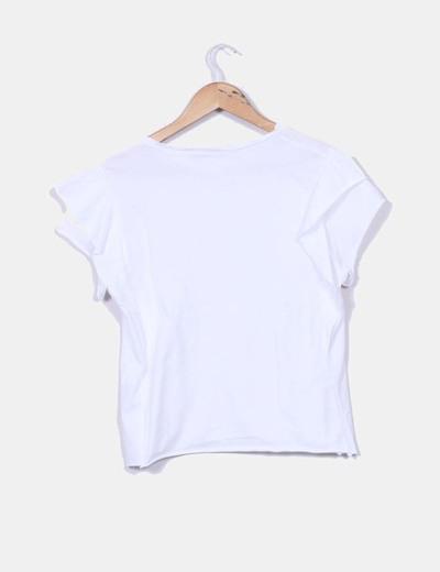 Camiseta básica blanca de manga corta con volantes
