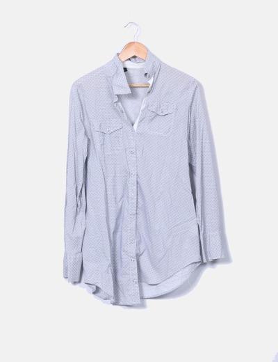 Camisa larga gris estampada Benetton