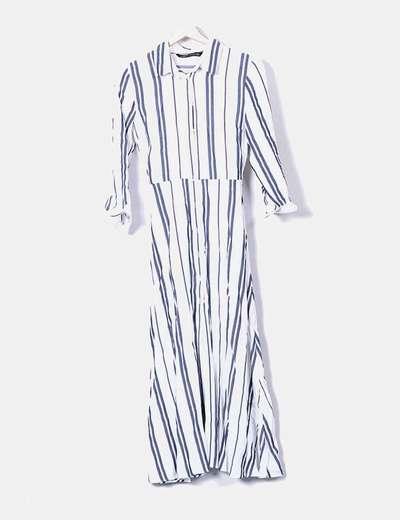 duradero en uso detallado nuevo diseño Vestido largo blanco rayas azules