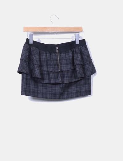 Mini falda peplum cuadros grises