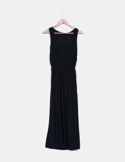 Vestido gasa negra de tirantes Made in Italy