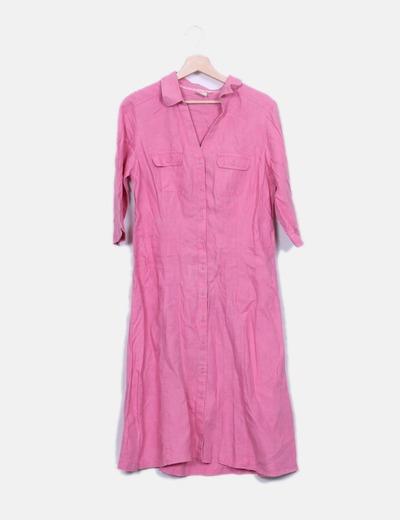 Vestido maxi lino rosa Cotton Traders