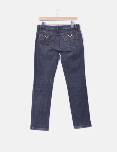 Pantalon denim oscuro costura dorado