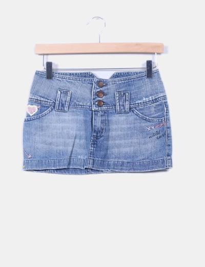 4b701c693e Zara Mini falda vaquera con bordados (descuento 90%) - Micolet