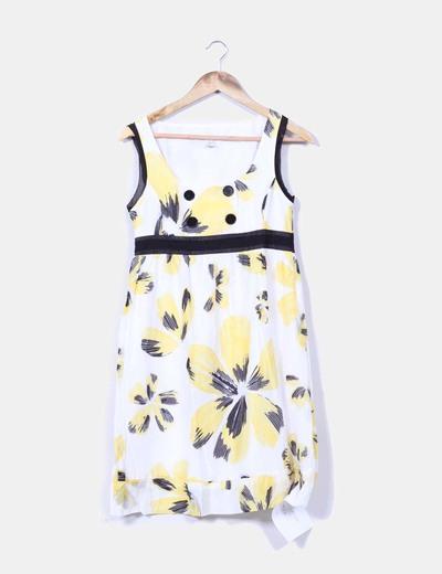 Vestido blanco y amarillo estampado Mango