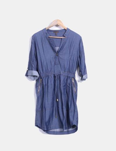 Vestido denim costura ocre fruncido en la cintura  Cortefiel