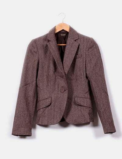 Traje de blazer y falda en tweed marrón  Mango