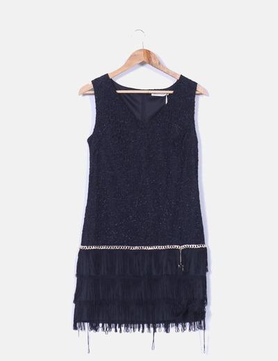 Vestido negro combinado con flecos Classic tricot