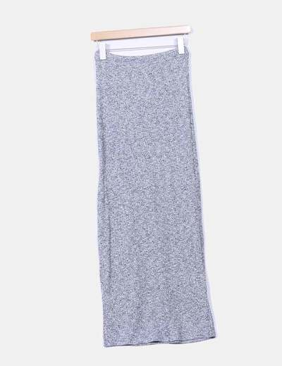 Falda maxi gris jaspeada con abertura C&A