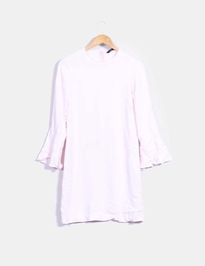 Vestido rosa palo mangas avolantadas Zara