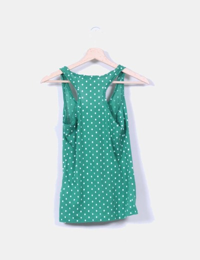 Camiseta nadadora verde topos blancos