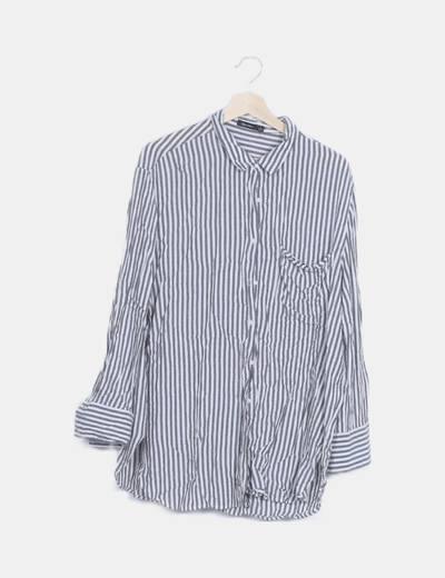 Camisa raya vertical blanca gris