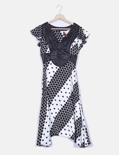 Vestido blanco y negro estampado Aibonito