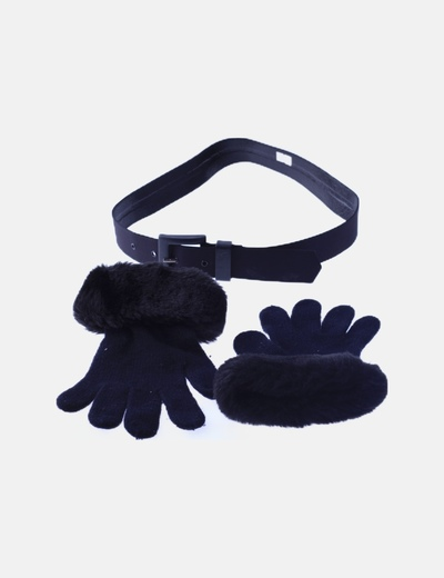 Pack cinturón negro liso con guantes de pelo