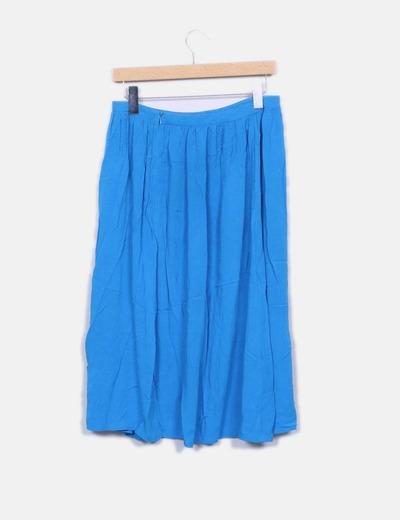 Falda midi azul abertura