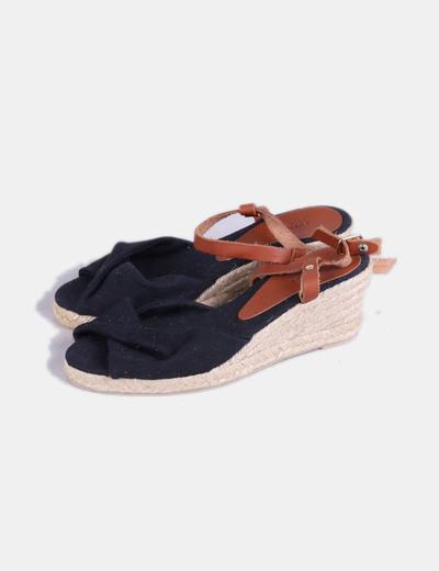Sandales noires denim en cuir synthétique Cortefiel