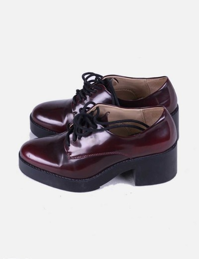 descuento De Burdeos 72 Zapato Zara Tacón Micolet Color nTqacnFH