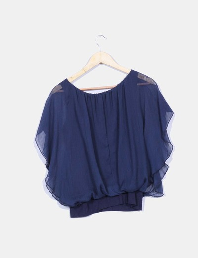 Blusa corta azul marino efecto globo