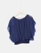 Blusa corta  azul marino efecto globo  Rango