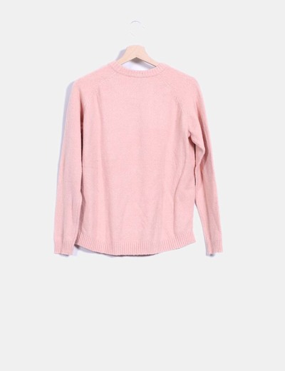 Jersey tricot tail hem rosa palo