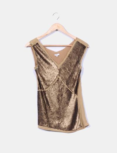 Blusa seda con lentejuelas doradas Yera