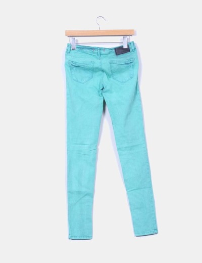 Jeans denim rayas verdes pitillo