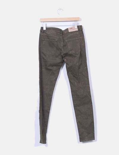 Jeans denim verde pitillo jaspeado