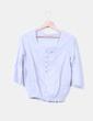 Blusa azul  drapeada y mangas francesas Zara