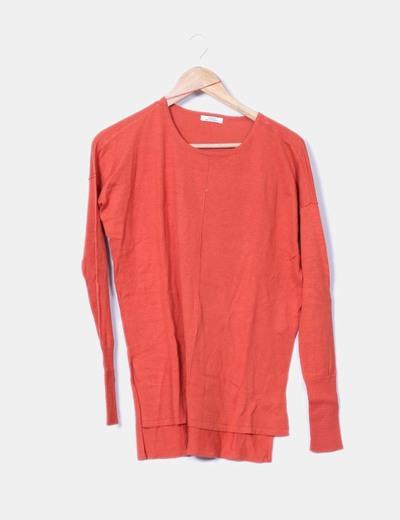 Pull orange en tricot Shana
