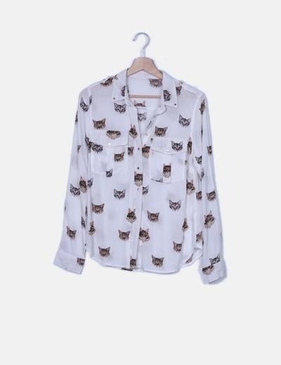 Camisa blanca print gatos
