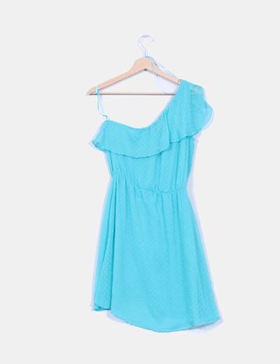 Vestido azul mint texturizado con escote asimetrico