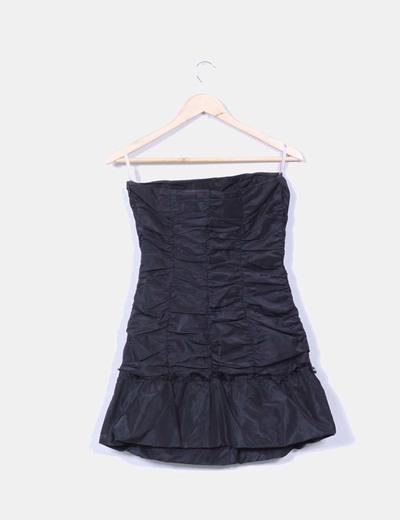 Vestido mini negro palabra de honor fruncido