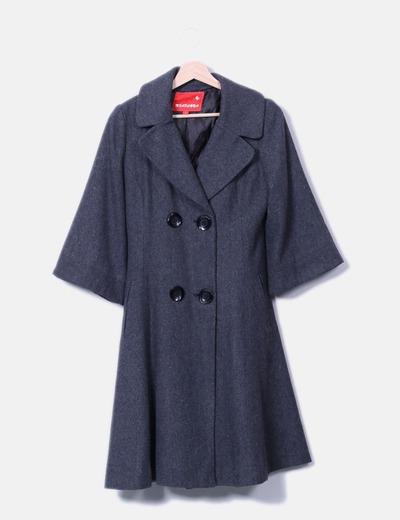 Abrigo largo gris con manga francesa Mia Donna